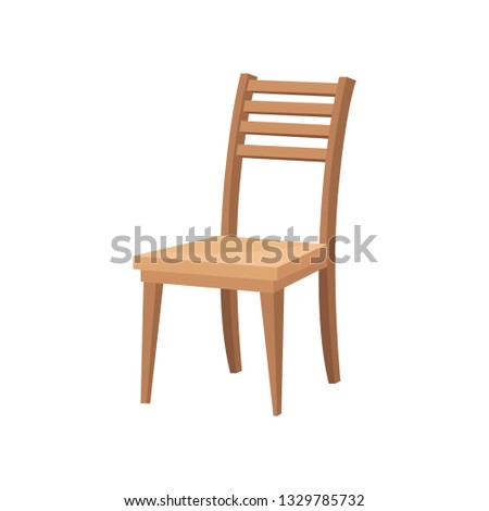 Brown wooden chair with backrest and soft beige seat. Furniture for dining room. Flat vector design Foto stock ©