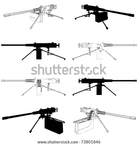 browning machine gun vector 02
