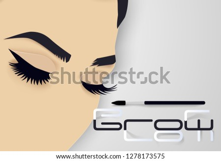 263f250e25e Brows and lashes lettering. Vector illustration of lashes and brows. For  beauty salon,