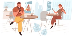 Browse social network web concept in flat style. Man and woman surfing internet, chatting online, using smartphones at cafe. People character activities scene. Vector illustration for website template