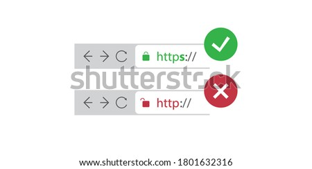 Browser Address Bars Showing Secure and Insecure Web Addresses - Mandatory Secure Browsing, Encoded Transfers and Connections Trend Concept Stock foto ©