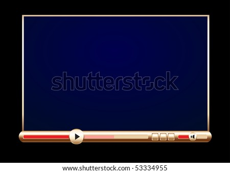 Browser golden video player on the black background