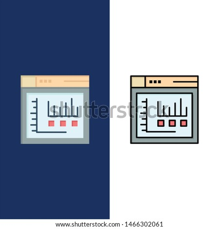Browser, Internet, Web, Static  Icons. Flat and Line Filled Icon Set Vector Blue Background. Vector Icon Template background