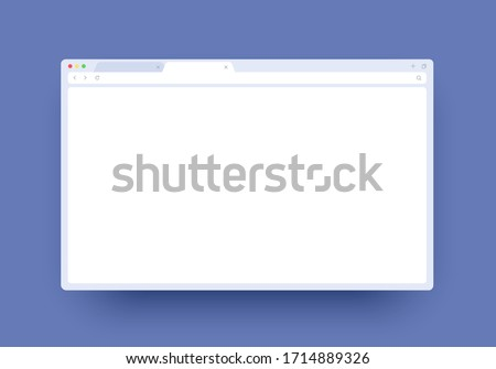 Browser mockup for website, laptop and computer. Browser window interface with empty place. Mock up for show your website in internet. Minimalistic clean template isolated on purple background.