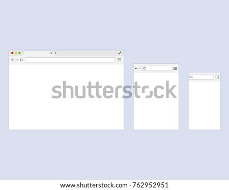 Browser or web browser in flat style. Template Browser window on your PC, tablet and mobile phone. #762952951