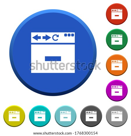 Browser remove tab round color beveled buttons with smooth surfaces and flat white icons