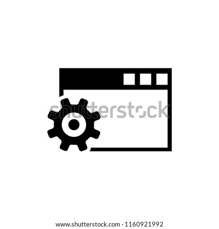 Browser Setup, Configure Settings. Flat Vector Icon illustration. Simple black symbol on white background. Browser Setup, Configure Settings sign design template for web and mobile UI element