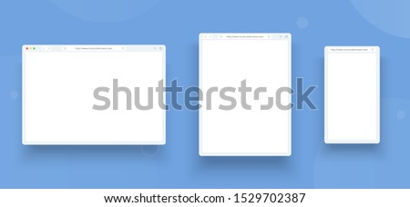 Browser template set  for web, tablet and mobile. Browser window concept for different size device: desktop, pad and smartphone. Mock up for show your website in internet.
