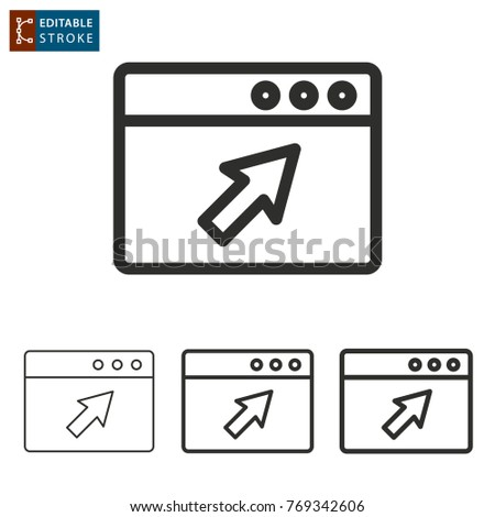 Browser vector icon. Black illustration isolated on white background. Thin line symbol. Editable stroke.