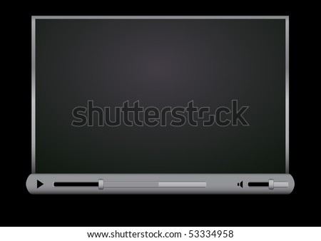 Browser video player on the black background