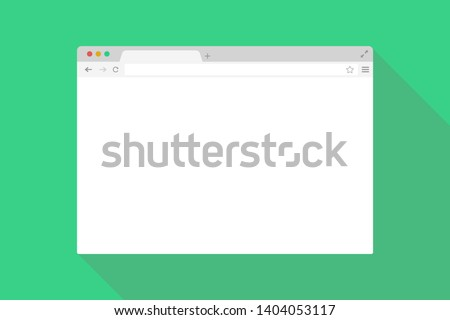 Browser window flat page template. Mock up website interface. Global network. EPS 10