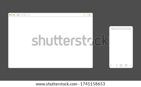 Browser window for computer and mobile. Mockup of web site screen. Template of browser for laptop and smartphone in white simple, flat design. Blank page with search bar and toolbar. Vector EPS 10