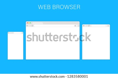 Browser window.Web browser in flat style. Window concept internet browser. Mockup screen design. Vector illustration concept.