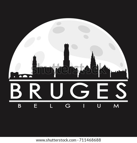 bruges full moon night skyline