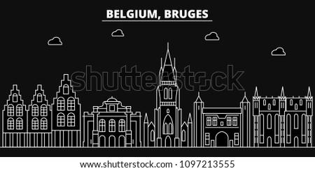Bruges silhouette skyline. Belgium - Bruges vector city, belgian linear architecture, buildings. Bruges travel illustration, outline landmarks. Belgium flat icons, belgian line banner