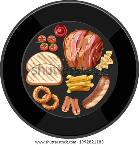 Brunch or breakfast set in a dish in cartoon style on the table illustration