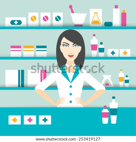 brunette doctor woman in drug