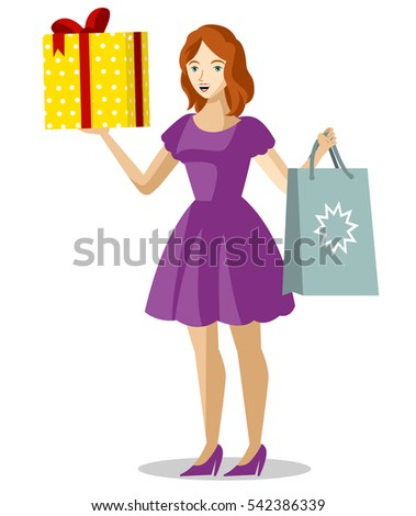 brunette girl buying gifts