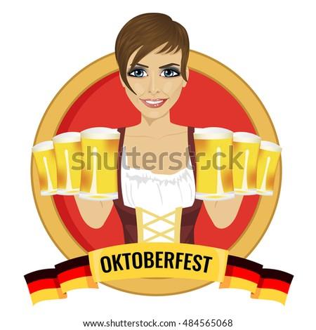 brunette girl holding beer mugs