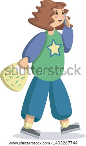 Stock Photo Brunette girl in blue jeans, green jacket with a star logo and gray sneakers with a yellow ecological bag goes to buy food and clothes in the store on the weekend summer day