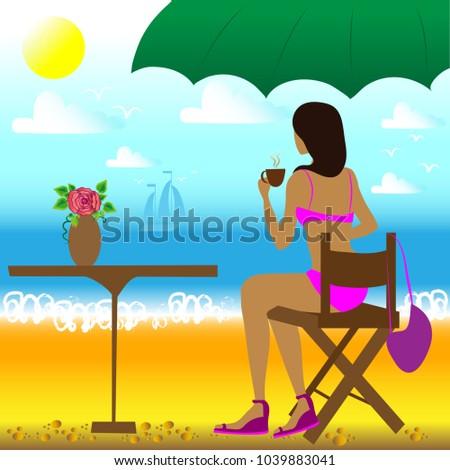 brunette girl in pink swimsuit