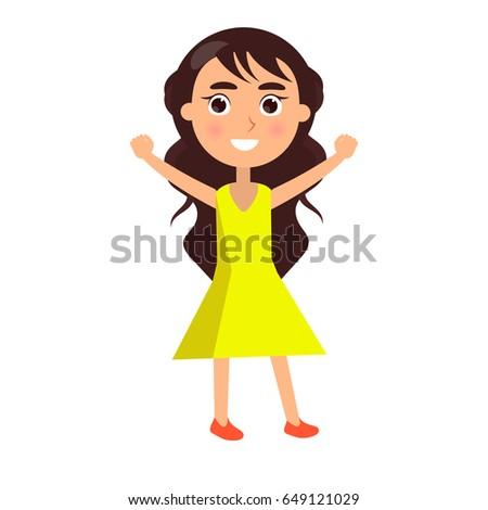 brunette girl in yellow dress