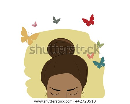 brunette girl on butterflies