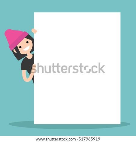 brunette girl peeping from