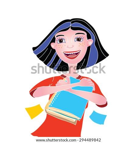 brunette girl with books