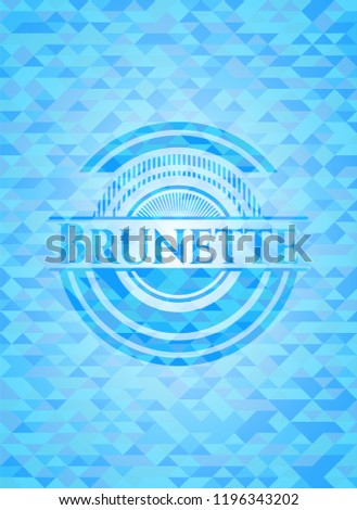 brunette light blue emblem