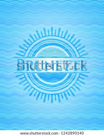 brunette light blue water wave