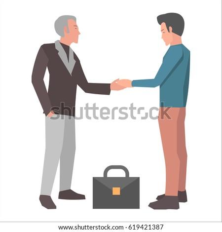 brunette man handshakes gray