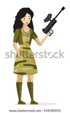 brunette paintball sniper girl