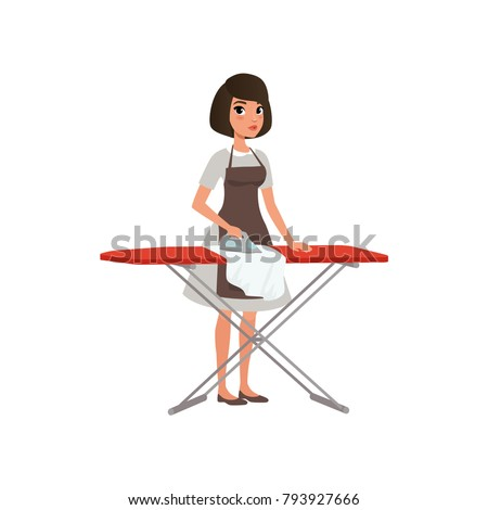 brunette woman ironing clothes