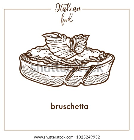 Bruschetta snack sketch vector icon for Italian cuisine food menu design