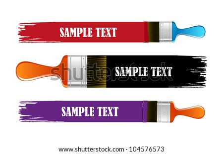 Brush and  paint stroke vector banners