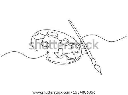 brush and painting palette one line drawing vector illustration isolated on white background