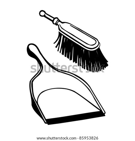 Brush and scoop. Vector illustration