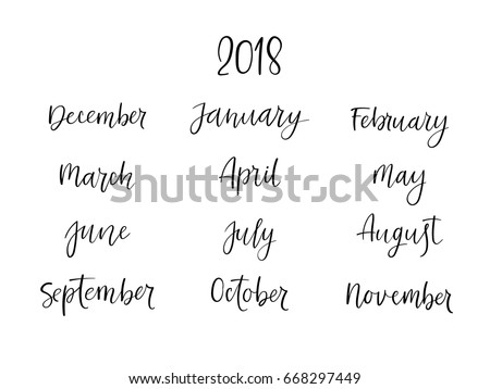 Brush Calligraphy Set Of Months The Year Handwritten Names Hand Lettering