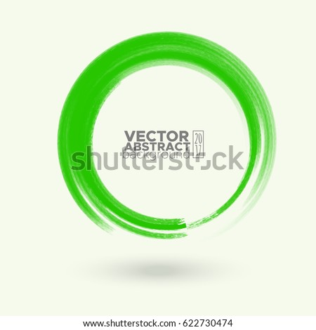 Brush color watercolor round stroke on pastel colour background. Vector illustration of grunge circle stains