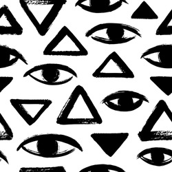 Brush drawn eyes and triangles seamless vector pattern. Rough edges. Hand drawn surreal black and white geometrical background. Stylized hand drawn eyes, eyeballs, pyramid texture. Ink illustration.