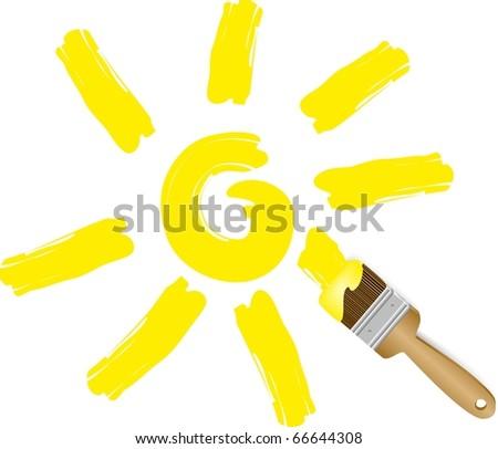 Brush draws the sun.