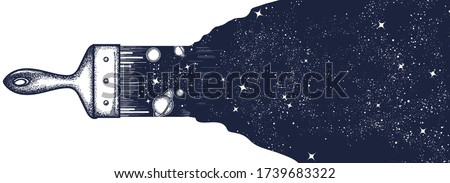 Brush draws universe. Black and white surreal graphic. Symbol of space, universe,dream, imagination, creative idea art