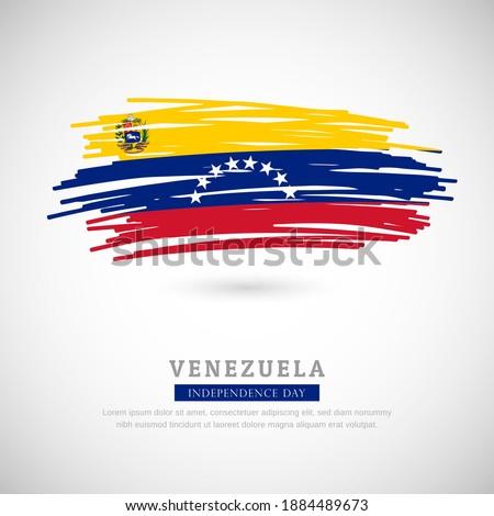 Brush flag of Venezuela country. Happy independence day of Venezuela with grungy flag background Stockfoto ©