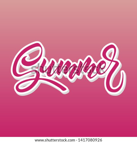 Brush lettering composition, hand drawn style, Summer isolated on pink #1417080926