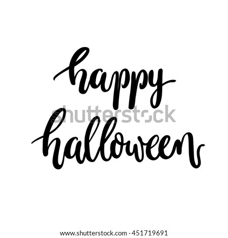 Brush lettering Happy Halloween calligraphy script vector.