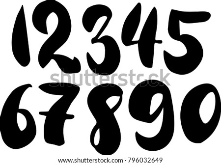 Brush lettering numbers. Modern calligraphy, handwritten letters. Vector illustration. Black on white background.