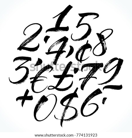 brush lettering numbers