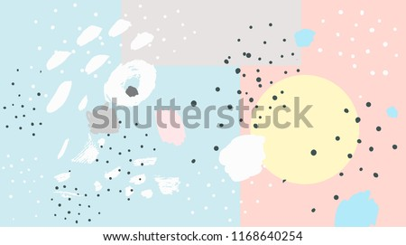 Brush, marker, highlight stroke pattern. Abstract background. Vector artwork. Memphis vintage, retro style. Children, kids sketch drawing. Pink, beige, blue, yellow, grey, black, white color #1168640254