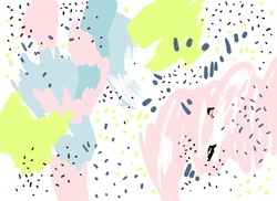 Brush, marker, pencil stroke pattern. Abstract background. Vector artwork. Memphis vintage, retro style. Children, kids sketch drawing Beige, pink, green, black, blue, white colors.